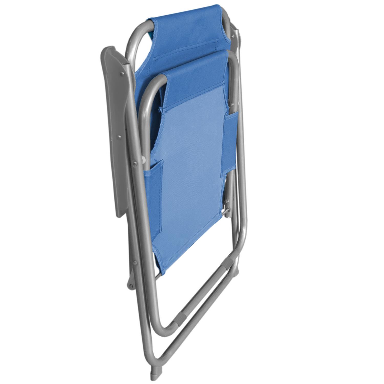 3x Klappstuhl Blau Campingmöbel-Set Alu Campingtisch /'Ameland/' 70x70cm 4tlg
