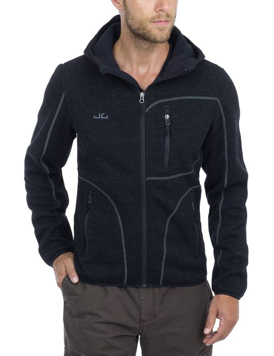 Jeff Green Herren Strick Fleece Jacke Kapuze Cork