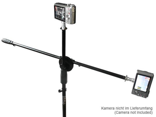 Mikrofonstativ Galgen inkl. Mikrofon Klemm- und Steckhalter + Spigot Adapter als Fotografier-Hilfe für Foto- Film- Video Kameras Modell: FD01-MS4