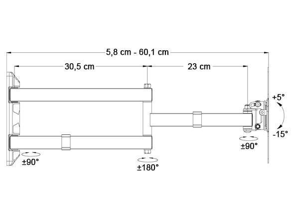 TV Wandhalterung 15 - 37 Zoll LED LCD Plasma TV Halterung Halter schwenkbar neigbar schwarz Modell: S89B