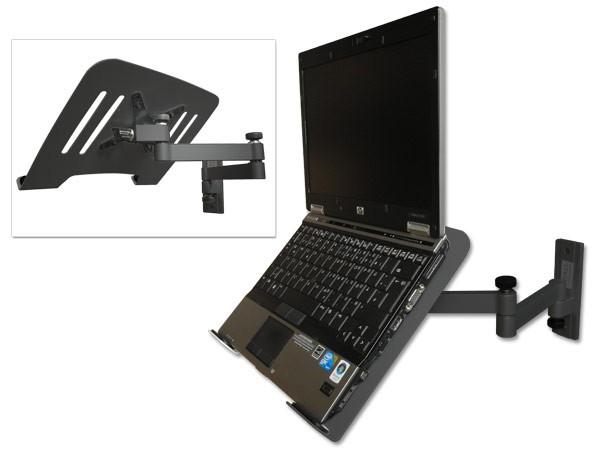 Laptop Wandhalterung Halterung (TÜV SÜD-geprüft) schwarz mit Notebook Adapterplatte Ablage schwarz Modell: L52B-IP3B