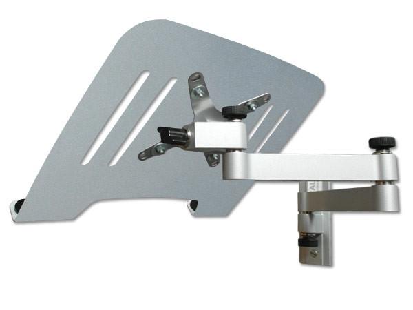 Laptop Wandhalterung Halterung (TÜV SÜD-geprüft) silber mit Notebook Adapterplatte Ablage silber Modell: L52S-IP3S