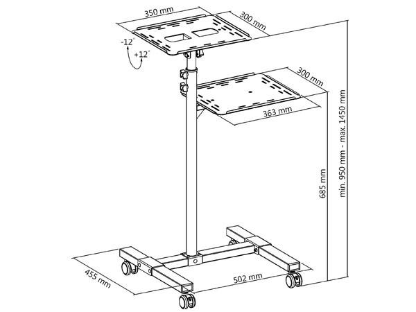 Rollbarer Projektortisch höhenverstellbar Beamer Laptop Notebook Ablage Rack Modell: LB9
