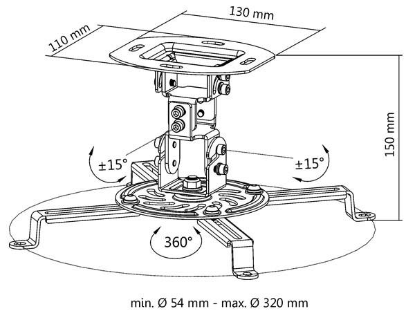 Universal Deckenhalterung für Beamer Projektor Dachschräge Befestigung variabel neigbar drehbar schwarz Modell: B25B