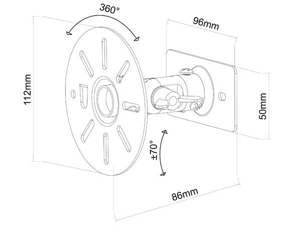 2 Stück Wandhalterungen weiss für Lautsprecher Boxen schwenkbar neigbar Speaker Befestigung Modell: BS9W