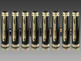 Tintenroller Kugelschreiber aufwändiger Corpus Black/Gold Druckverschluss Modell: TRM Bild 5