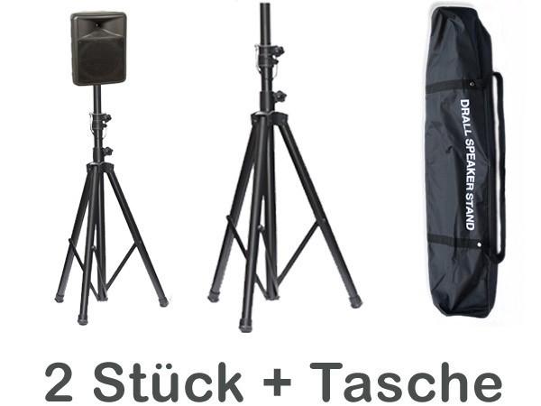 Lautsprecher Stative (2 Stück mit Transport Tasche) höhenverstellbar von 1,25 m bis 2,10 m für Stage, PA, Bühne, Proberaum, HiFi, Party, Disco, DJ Modell: BS2