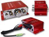 Mini-Endstufe Verstärker f. Wohnungen, Motoroller, Motorrad, Auto, MP3-Player ROT Modell: EN4R
