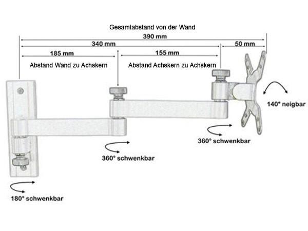Fernseh Halterung Wandhalterung TFT/LCD/LED Fernseher 19-31 Zoll VESA 75 100 TÜV Modell: L52W