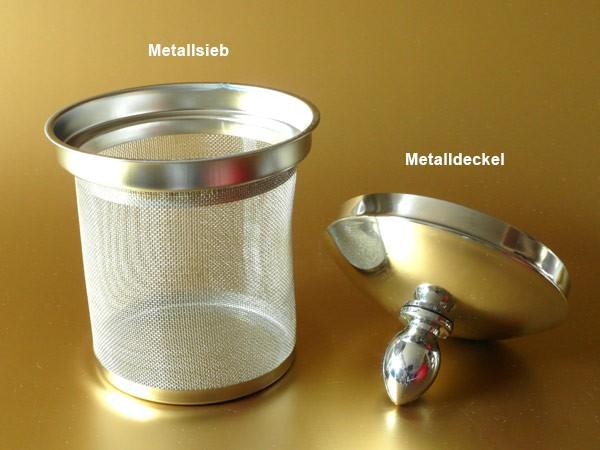Teekanne 1 Liter Vollmetall Tee Kanne Kaffeekanne Teebereiter Teegeschirr m. Metallsieb Modell: TC03