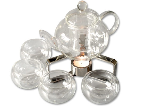 Teekanne 600 ml aus Borosilikat-Glas Teesieb Teefilter Glaskanne mit 4 Teetassen Modell: TC06