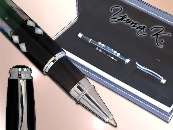 YUMA K. Tintenroller Gelschreiber Gamblers-Line Domino Mine sz Druckverschluss Modell: TRO