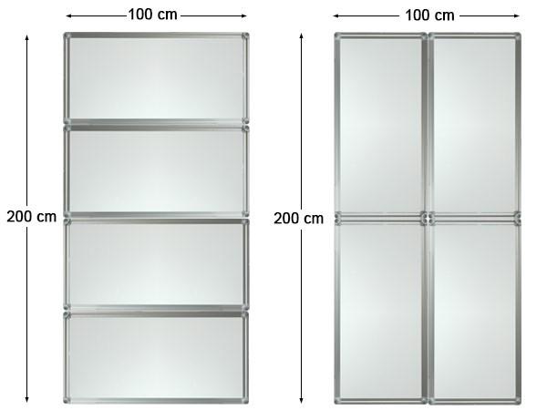 4 Stück Whiteboard 100 x 50 cm (= 200 x 100 cm oder 400 x 50 cm) Magnetafel Pinnwand Modell: WB12x4