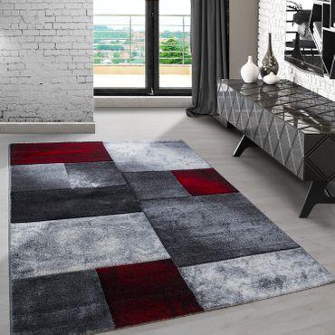 Designer Teppich Kurzflor Konturenschnitt Karo Muster Schwarz Grau Rot Meliert – Bild 1