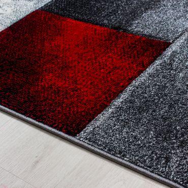 Designer Teppich Kurzflor Konturenschnitt Karo Muster Schwarz Grau Rot Meliert – Bild 2