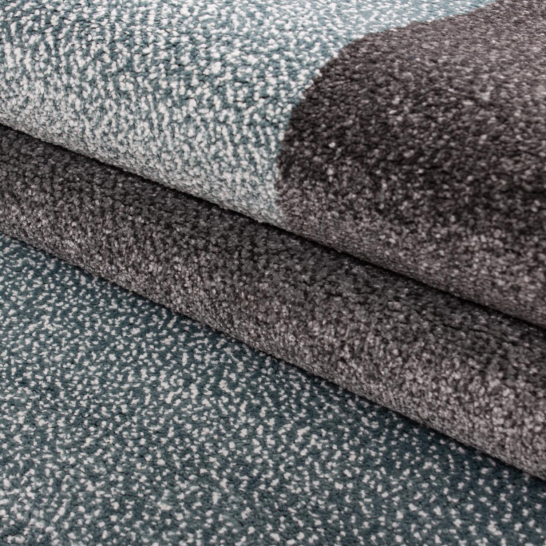 Designer Teppich Kurzflor Kariert Muster Meliert Schwarz Grau Blau