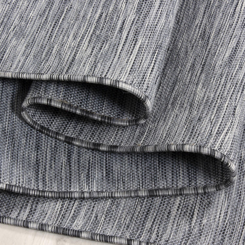 Sisal Teppich Flachgewebe Uni Naturoptik Grau Schwarz Meliert Indoor