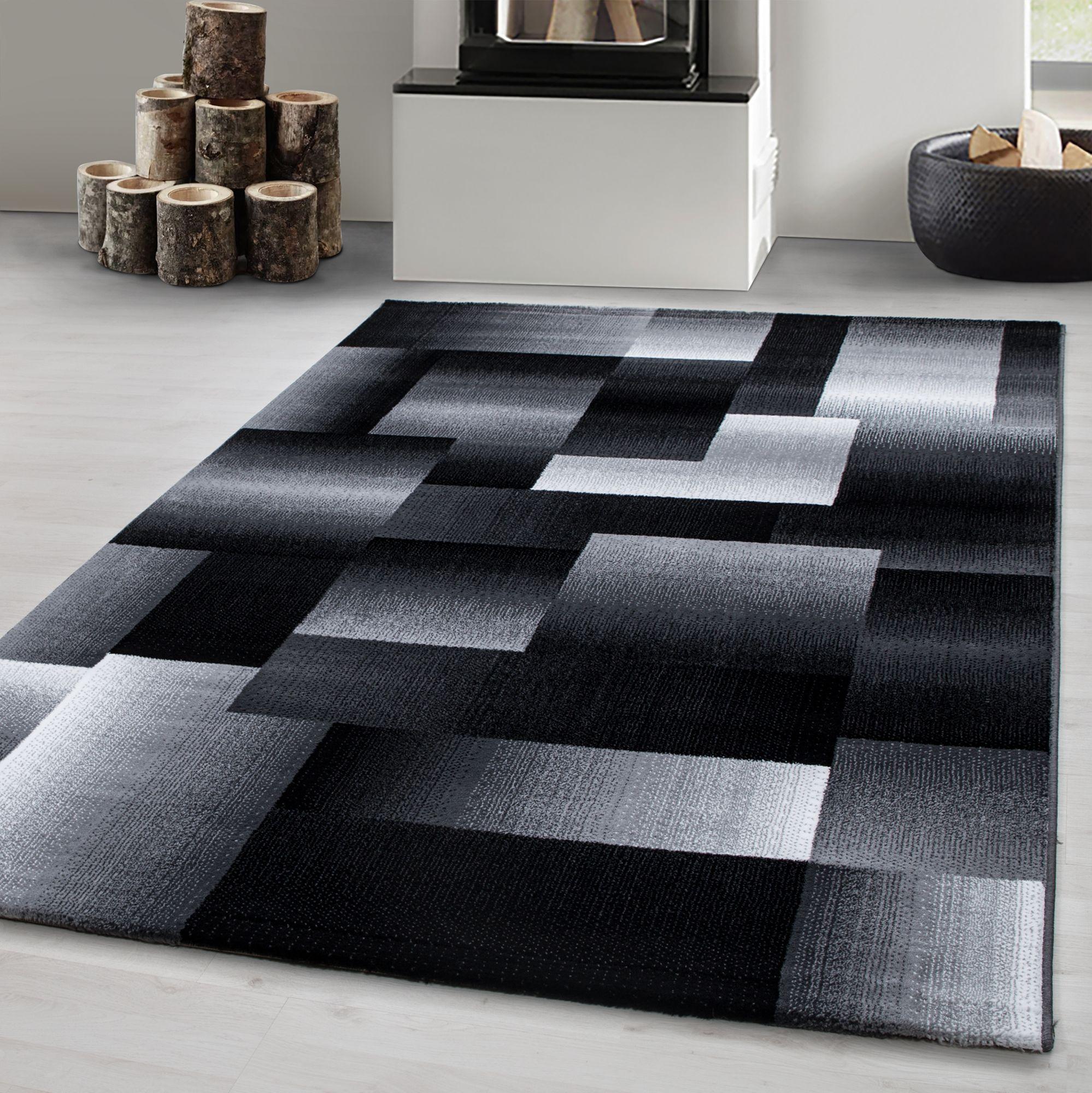 Details zu Teppich modern Designer Wohnzimmer Abstrakt Kariert Muster  Schwarz Grau Weiß