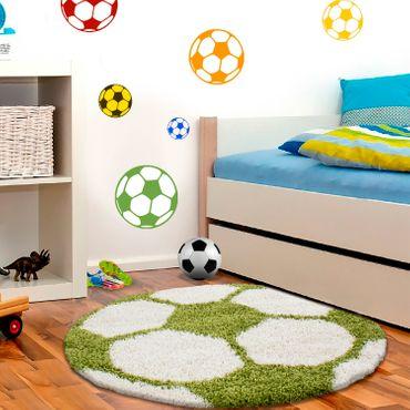 Kinderteppich für Wohnzimmer kurzflor Pflegeleicht Schadsstof geprüft Bälle  – Bild 6