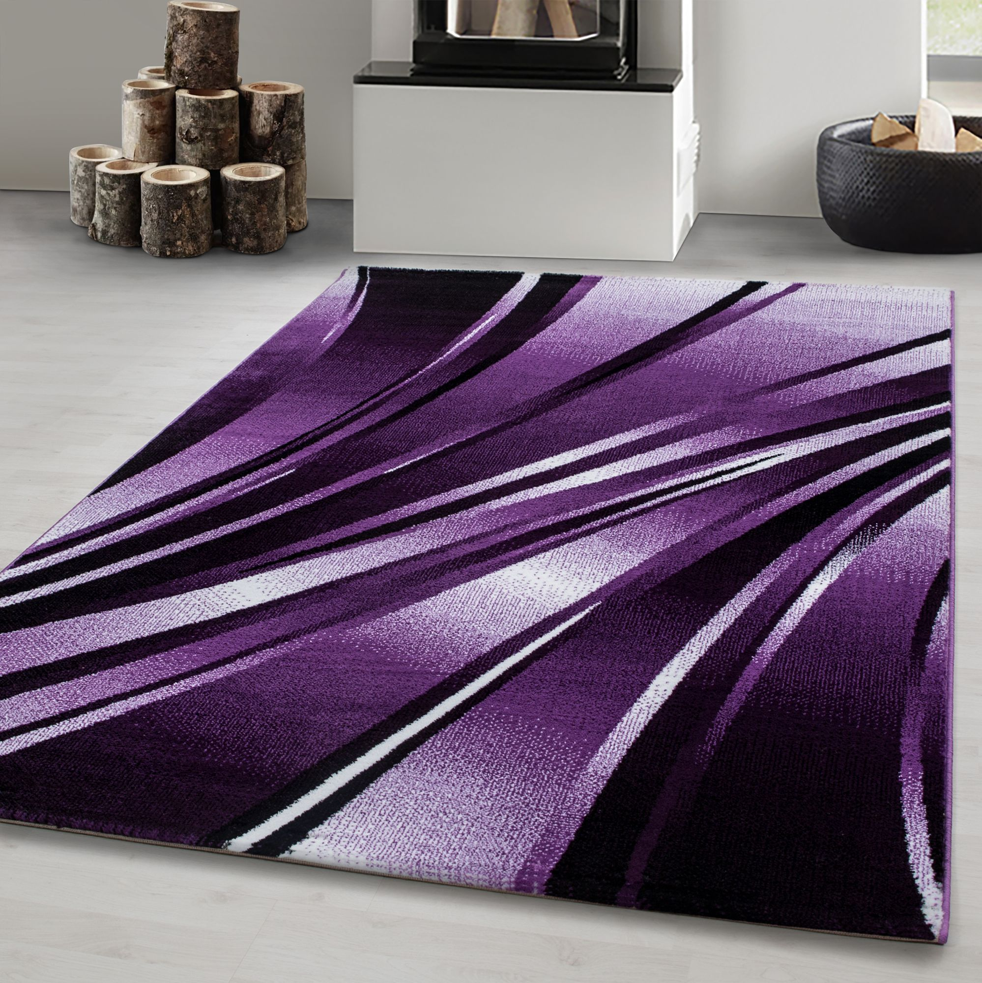 Teppich Modern Designer Wohnzimmer Abstrakt Wellen Muster Schwarz Lila Weiß