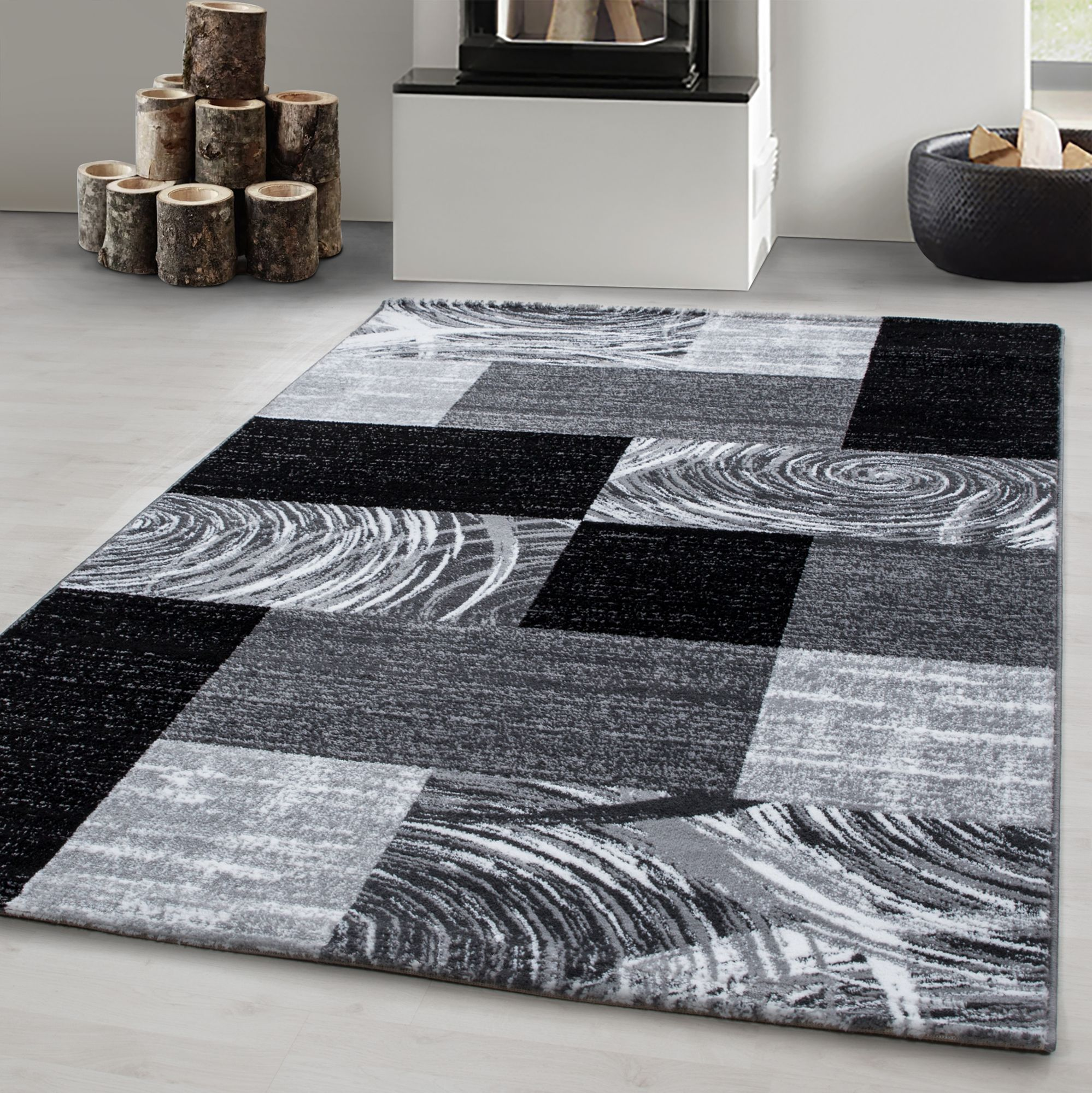 Teppich modern Designer Wohnzimmer Abstrakt Kariert Muster Schwarz Grau  Weiß | Mono Home GmbH