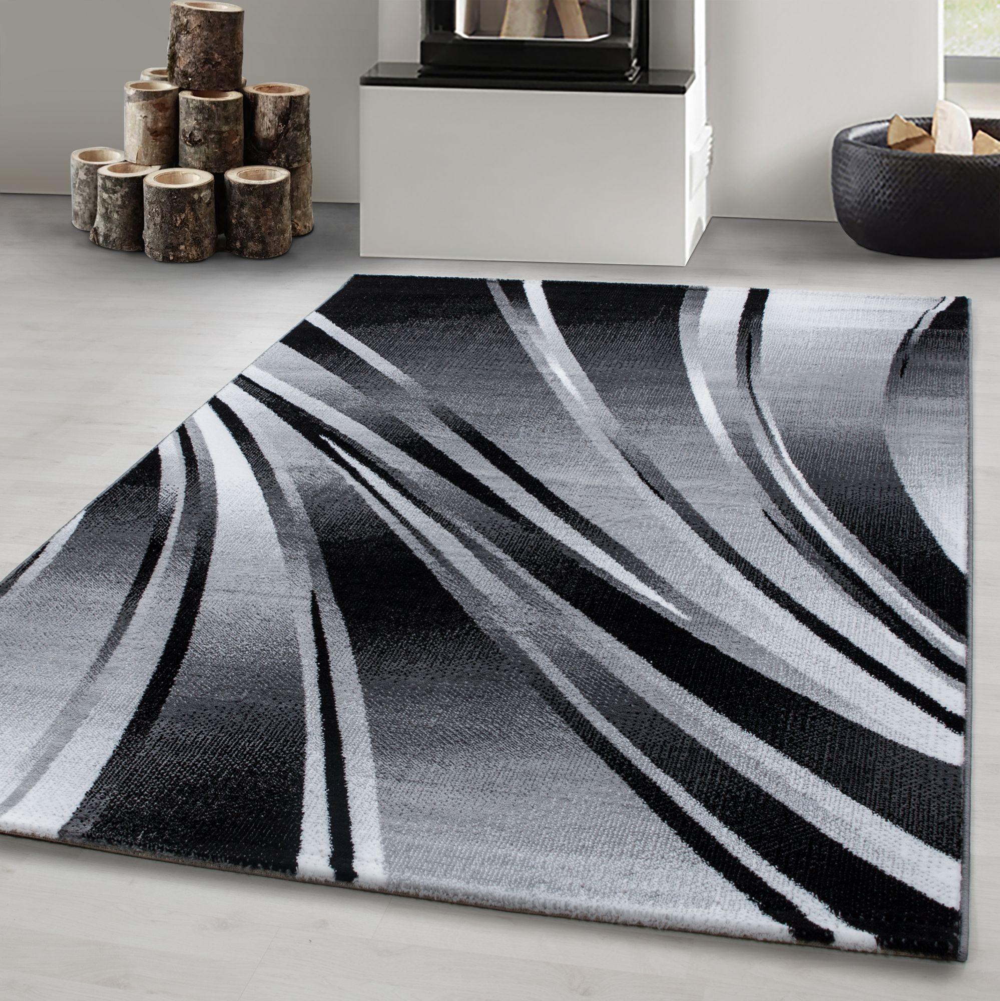 Teppich modern Designer Wohnzimmer Abstrakt Wellen Muster Schwarz Grau Oeko  Tex   Mono Home GmbH
