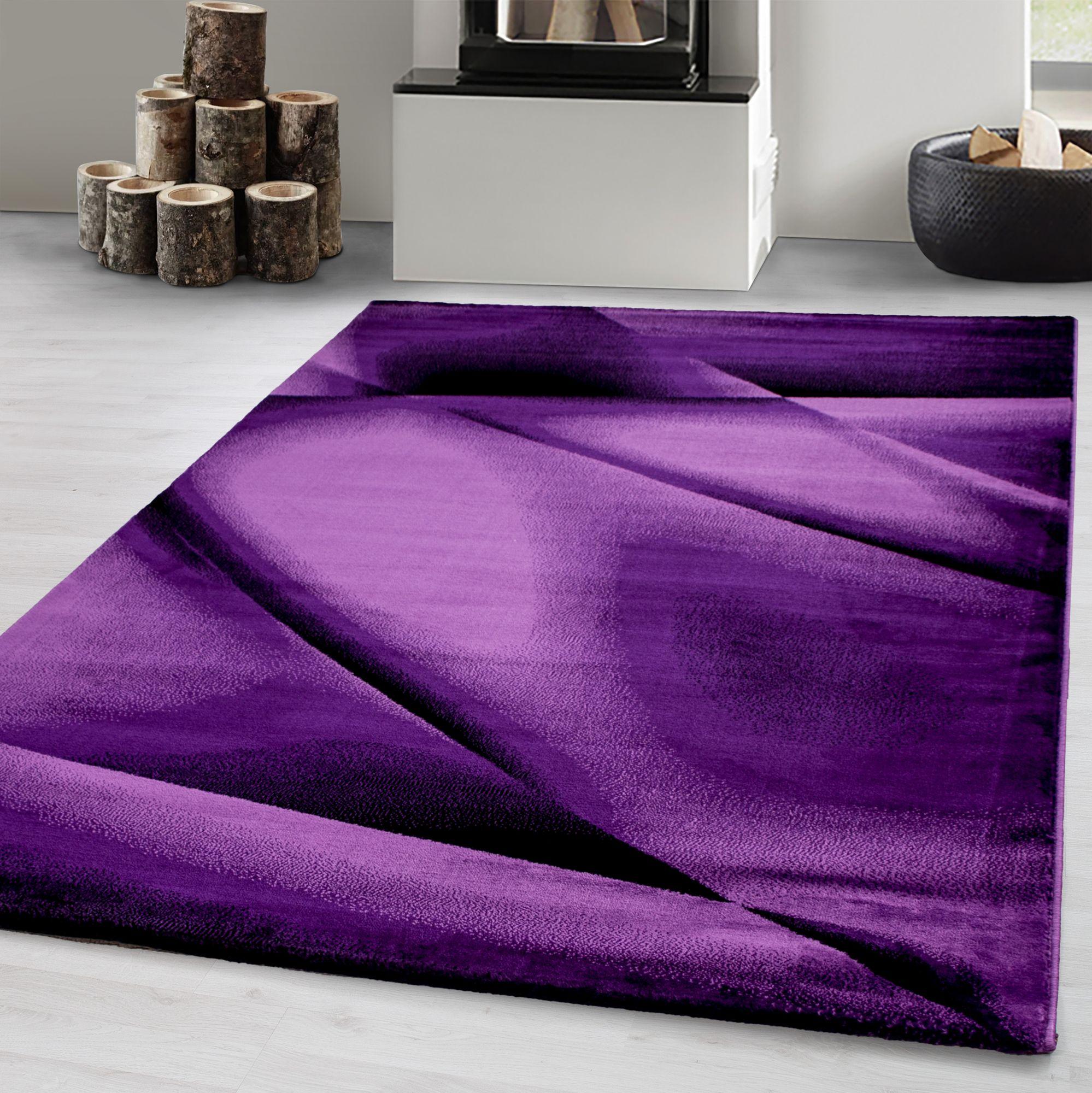 Détails sur Tapis moderne Salon design Motif de lignes abstraites et  ondulations Noir violet