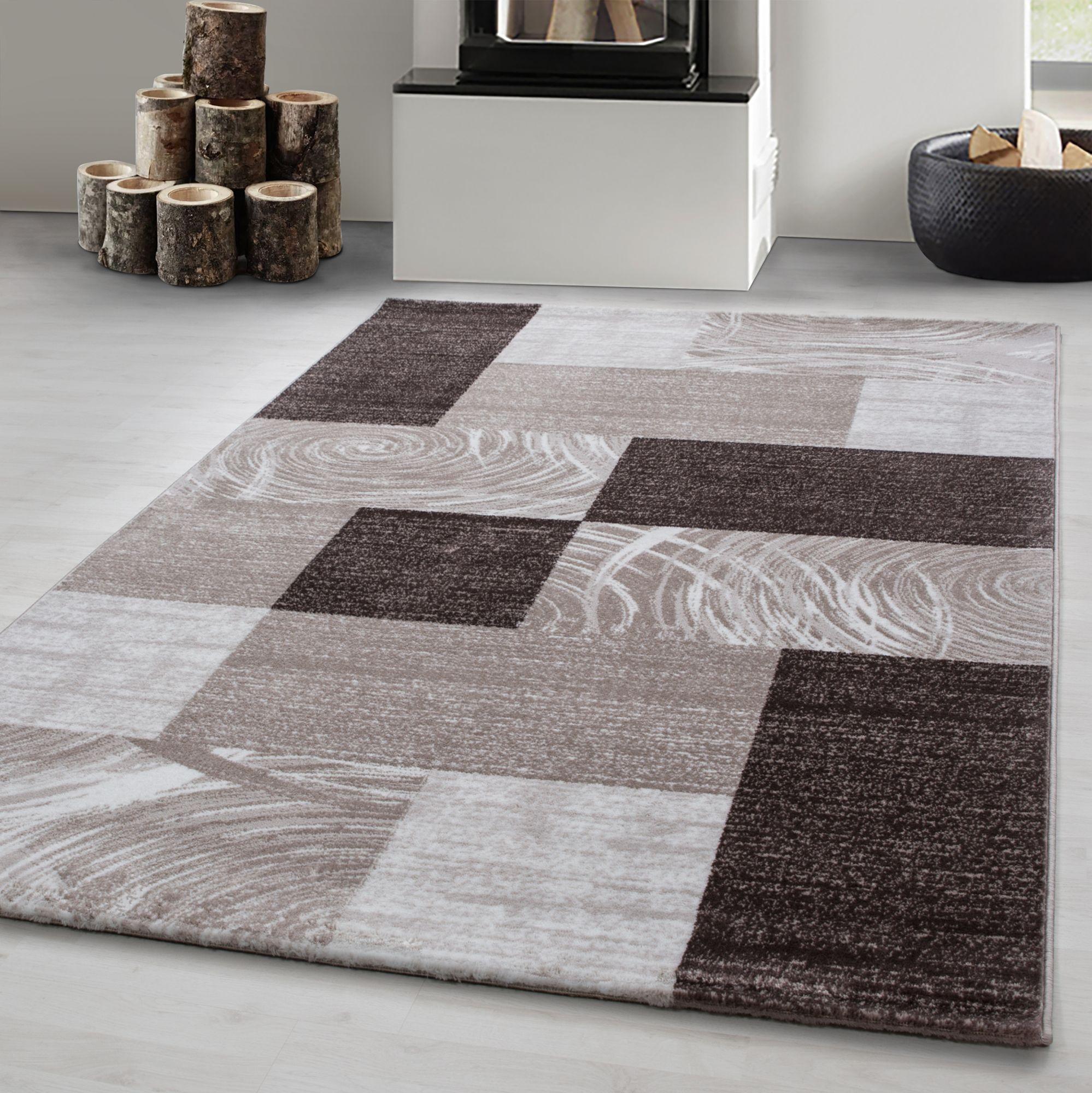 Teppich Modern Designer Wohnzimmer Abstrakt Kariert Muster Braun Beige Creme