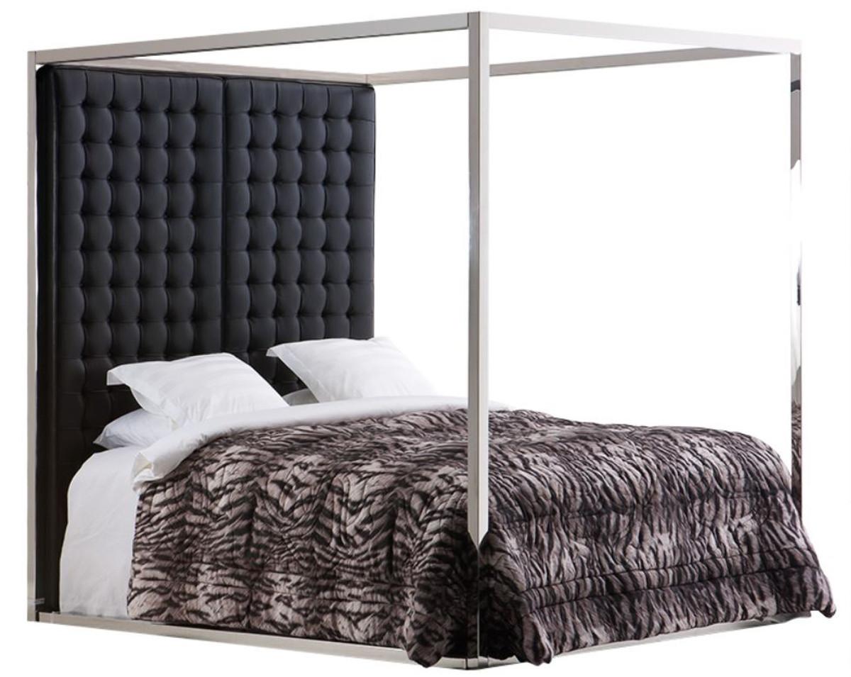 casa padrino luxus bettgestell mit kopfteil in schwarzer leder optik 190 x 220 x h 220 cm. Black Bedroom Furniture Sets. Home Design Ideas