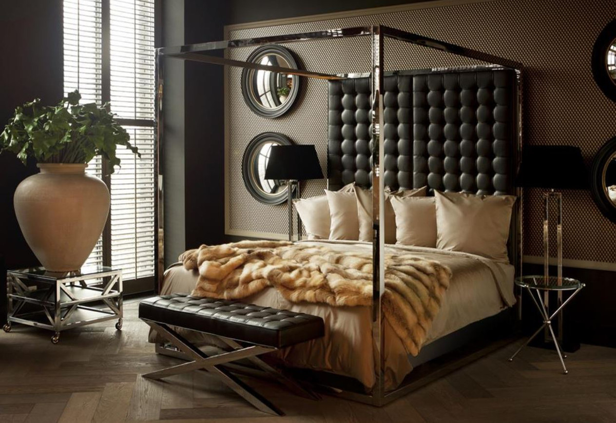 casa padrino luxus bettgestell mit kopfteil in schwarzer. Black Bedroom Furniture Sets. Home Design Ideas