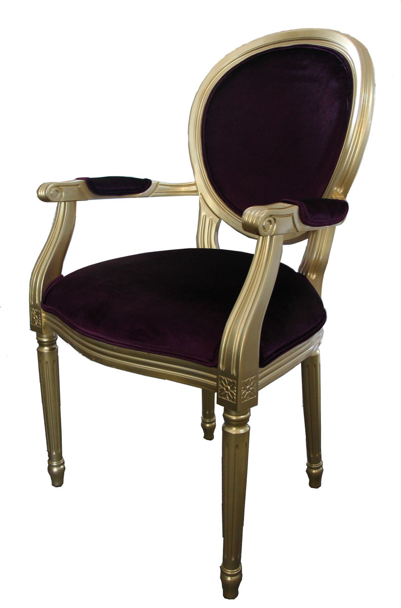Casa padrino barock esszimmer stuhl mit armlehne lila for Stuhl armlehne