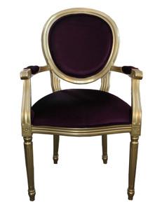 Casa Padrino Barock Esszimmer Stuhl mit Armlehne Lila / Gold - Designer Stuhl - Luxus Qualität – Bild 1
