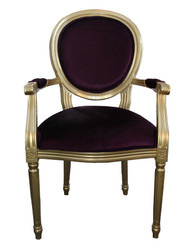 Casa Padrino with armrest Baroque Dinner Chair Purple/Gold - Designer Chair - Luxury quality