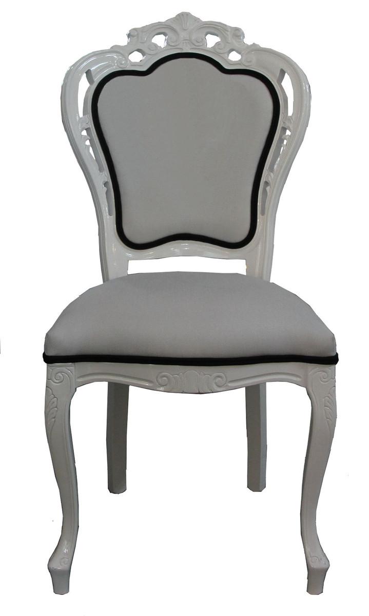 Superb Barock Esszimmer Stuhl #11: Casa Padrino Luxus Barock Esszimmer Stuhl In Weiß/Schwarz - Designer Stuhl  - Luxus Qualität