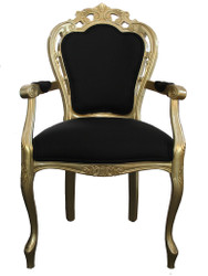 Casa Padrino Baroque Dinner Chair with armrest Black / Gold - Designer Chair - Luxury quality