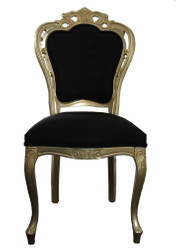 Casa Padrino Luxury baroque dining chair without armrests in Bordeaux gold / black - designer chair - luxury quality - limited edition