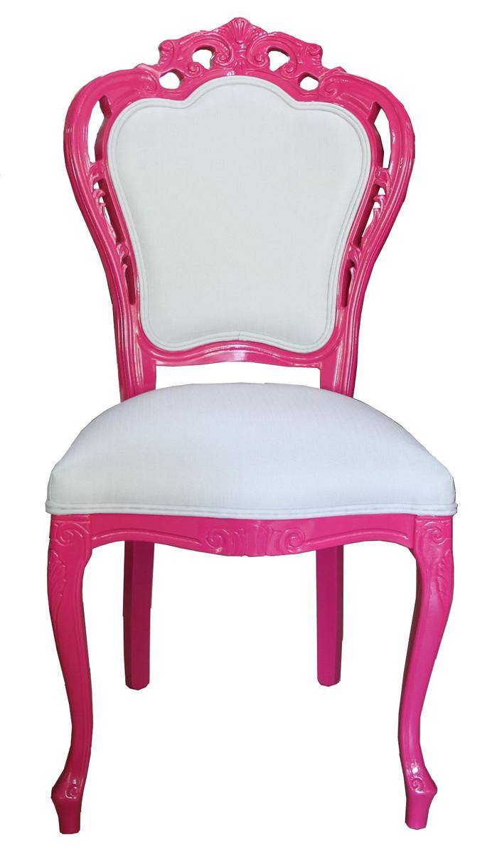 Exceptional Barock Esszimmer Stuhl #13: Casa Padrino Luxus Barock Esszimmer Stuhl In Weiß/Pink - Designer Stuhl -  Luxus Qualität