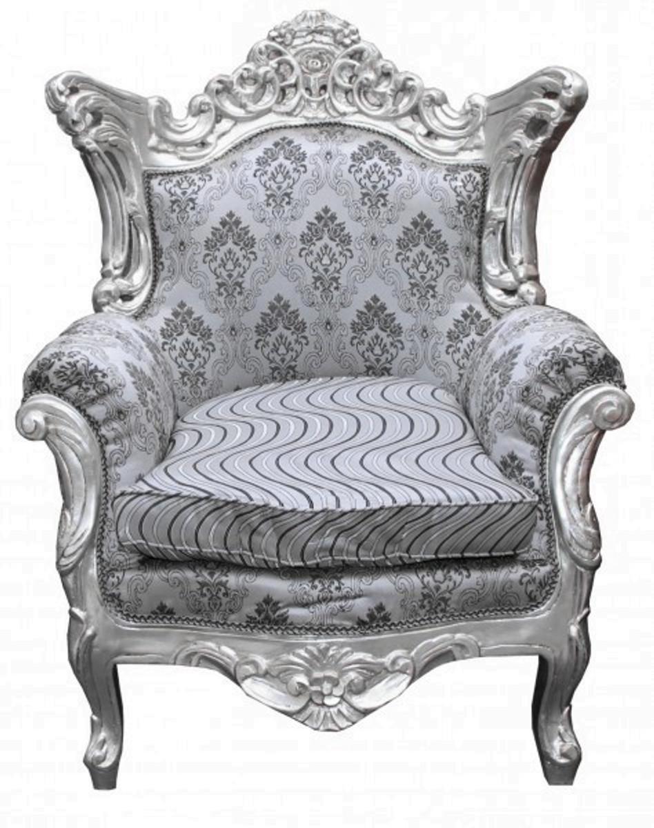 Casa Padrino Barock Sessel Al Capone Silber Muster Silber Möbel