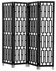 Casa Padrino mahogany room divider in piano black 200 x H. 225 cm - luxury quality