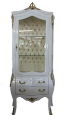 Casa Padrino baroque display case White / Gold - display cabinet - living room cabinet glass cabinet