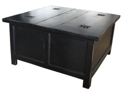 Casa Padrino folding table in black - 85,5 cm x 85,5 cm x H45 cm - country house style