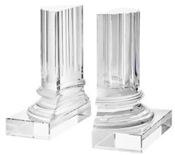 Casa Padrino Kristallglas Buchstützen 2er Set 17 x 8,5 x H. 21 cm - Designer Hotel Deko