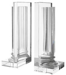 Casa Padrino Kristallglas Buchstützen 2er Set 17 x 11 x H. 38 cm - Designer Hotel Deko