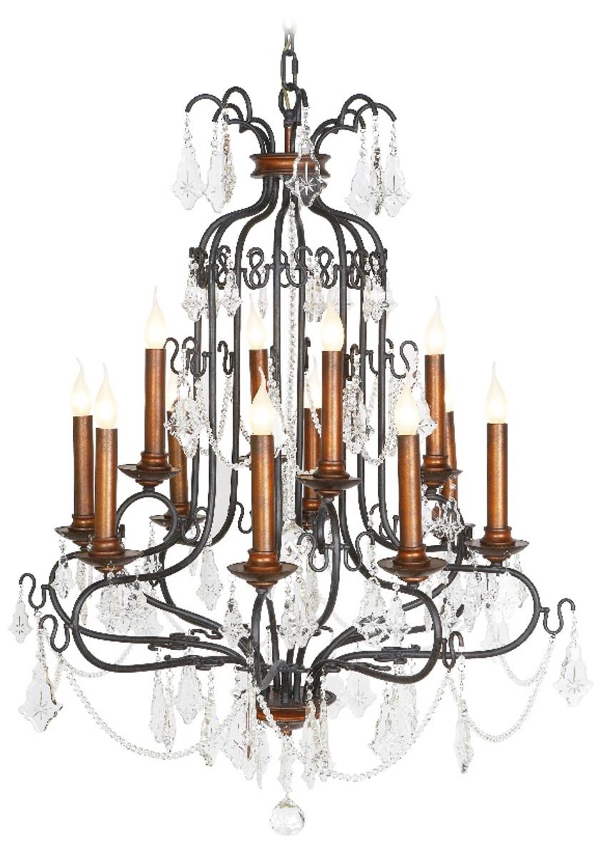 Casa padrino h ngeleuchter schwarz kupfer mit deko kristallen 90 x h 130 cm h ngeleuchte - Deko kupfer schwarz ...