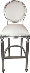 Casa Padrino Baroque Bar Chair White / Silver leather look - high chair bar chair bar stool - Club Furniture