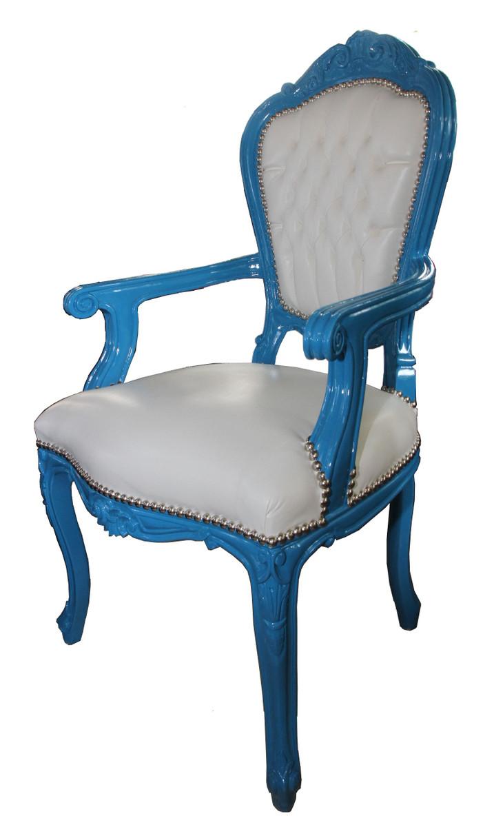 barock esszimmerstuhl blau wei lederoptik mit armlehnen st hle barock st hle esszimmerst hle. Black Bedroom Furniture Sets. Home Design Ideas