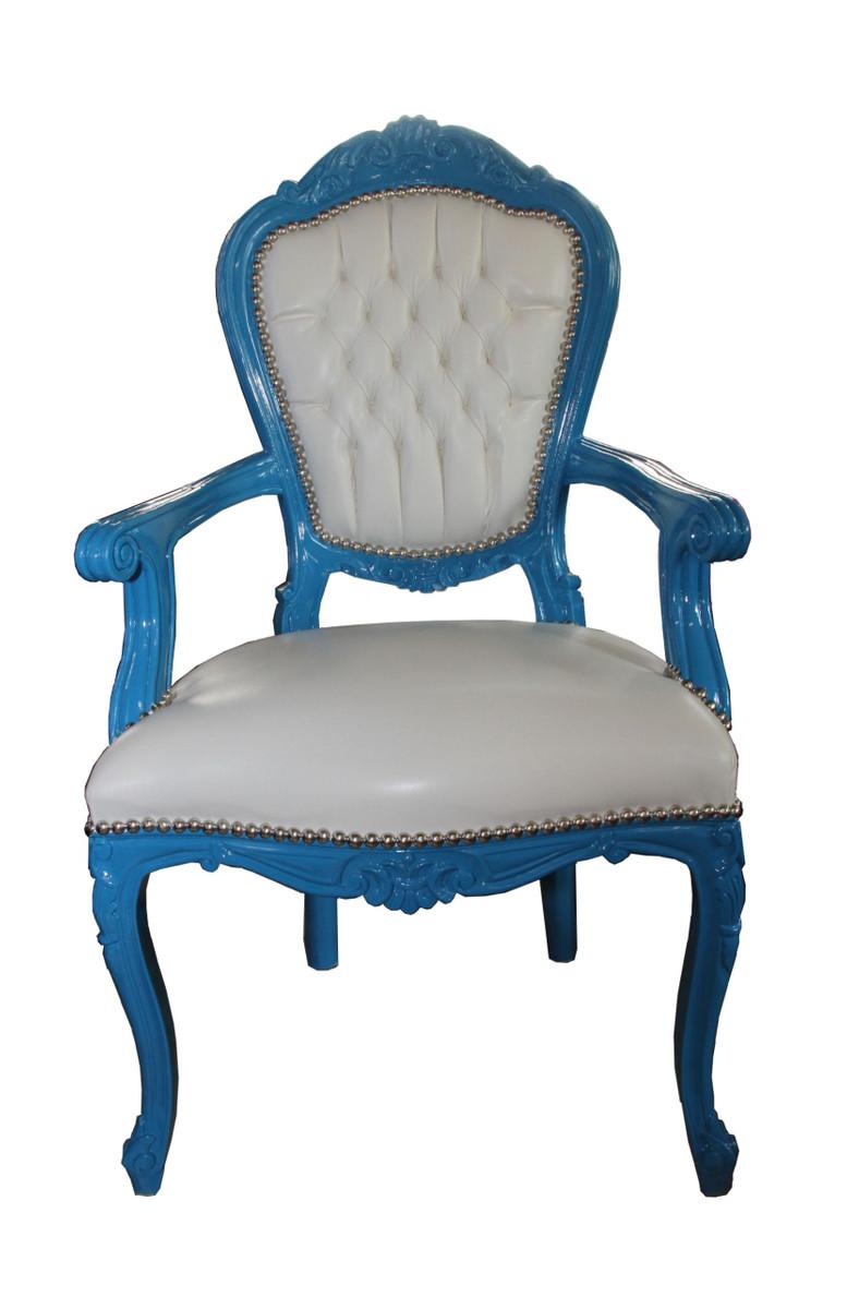 barock esszimmerstuhl blau wei lederoptik mit armlehnen st hle barock st hle barock. Black Bedroom Furniture Sets. Home Design Ideas