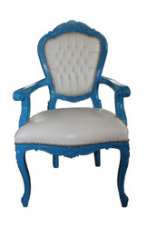 Baroque dining room chair blue / white leather look with armrests