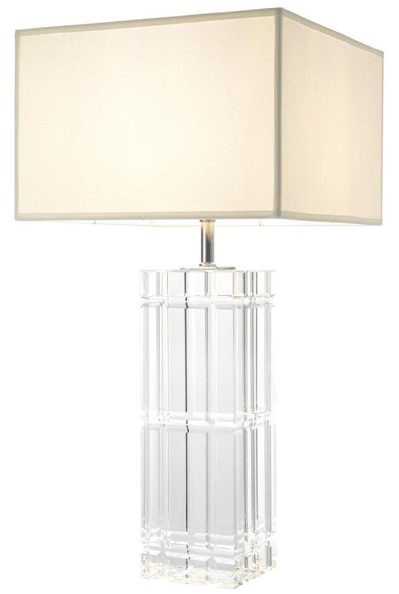 Casa Padrino Lampada Da Tavolo In Cristallo In Vetro Di Lusso Design Hotel Con Paralume Bianco Edizione Limitata Casa Padrino De