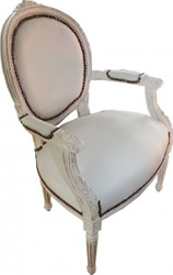 Casa Padrino Baroque Salon Chair Antique Style Cream - White Mod2